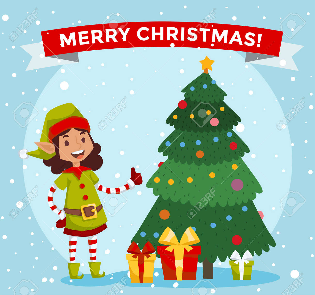Santa Claus Kids Cartoon Elf Helpers Illustration Santa Claus Elf