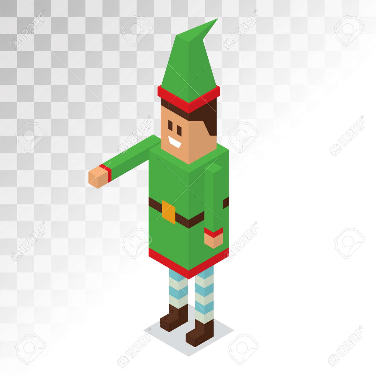 Père Noël Dessin Animé Garçon Helper Vecteur Elf 3d Art Pixel Isométrique Illustration Père Noël Aide Elfe Enfant Isolé Père Noël Helpers Costume