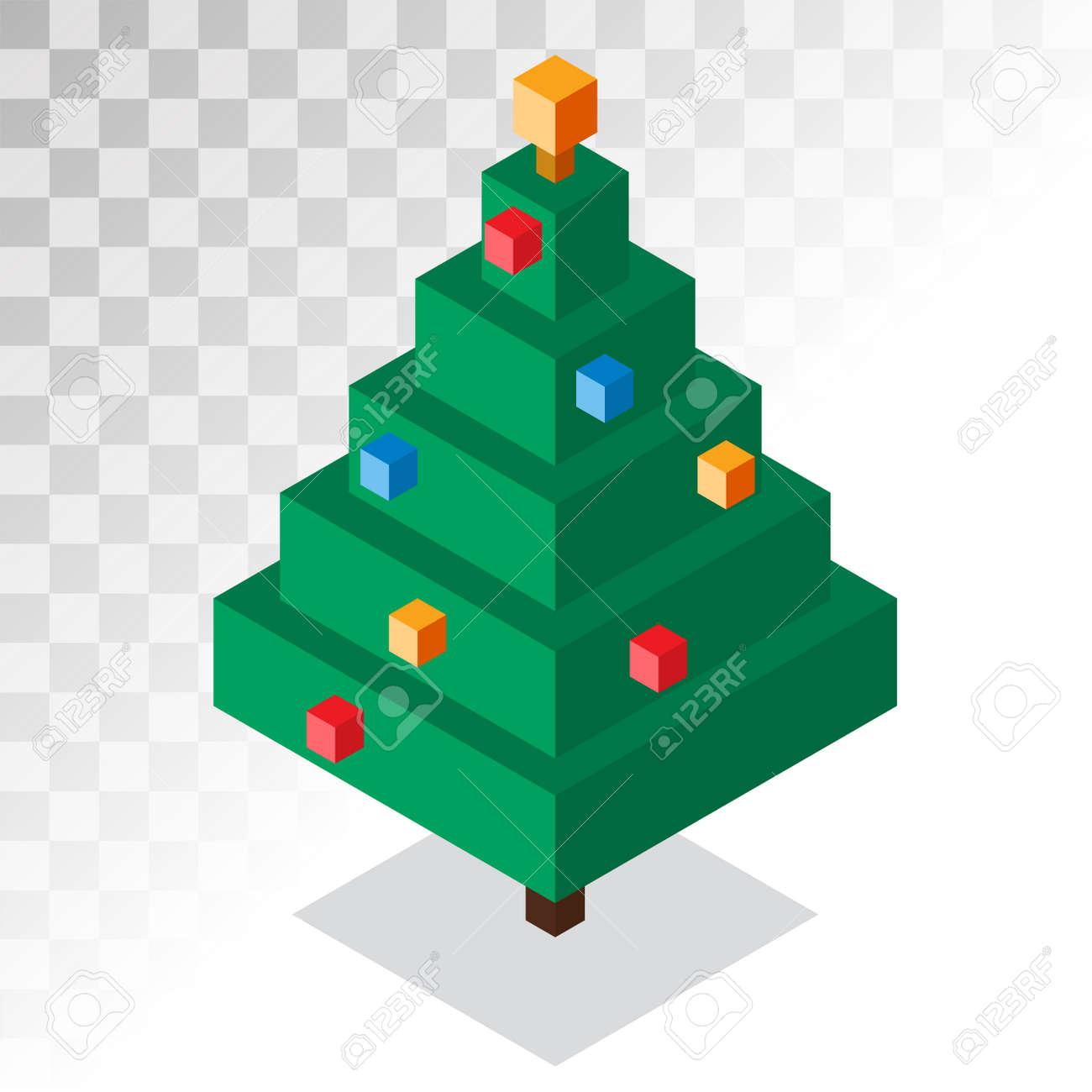 Kerstboom Platte 3d Isometrische Pixel Kunst Pictogram Kerstboom