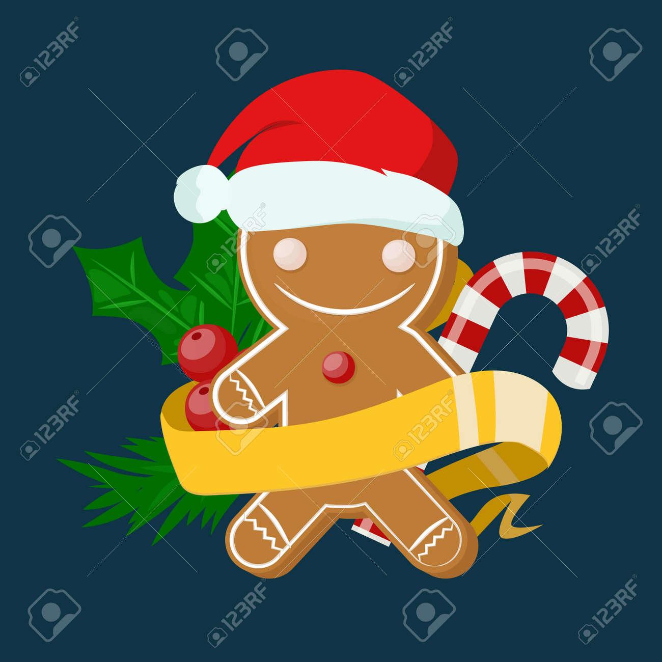 Weihnachten Susse Kuchen Junge In Santa Roten Hut Flaches Design