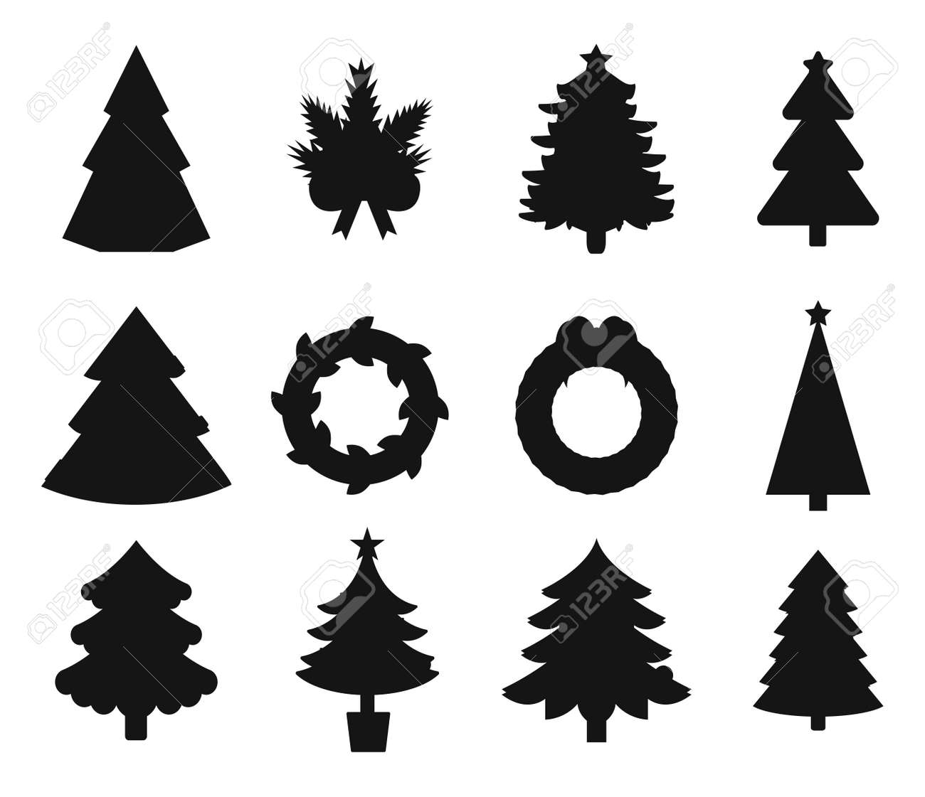 Christmas Tree Black Icons Set Christmas Tree Vector New Year
