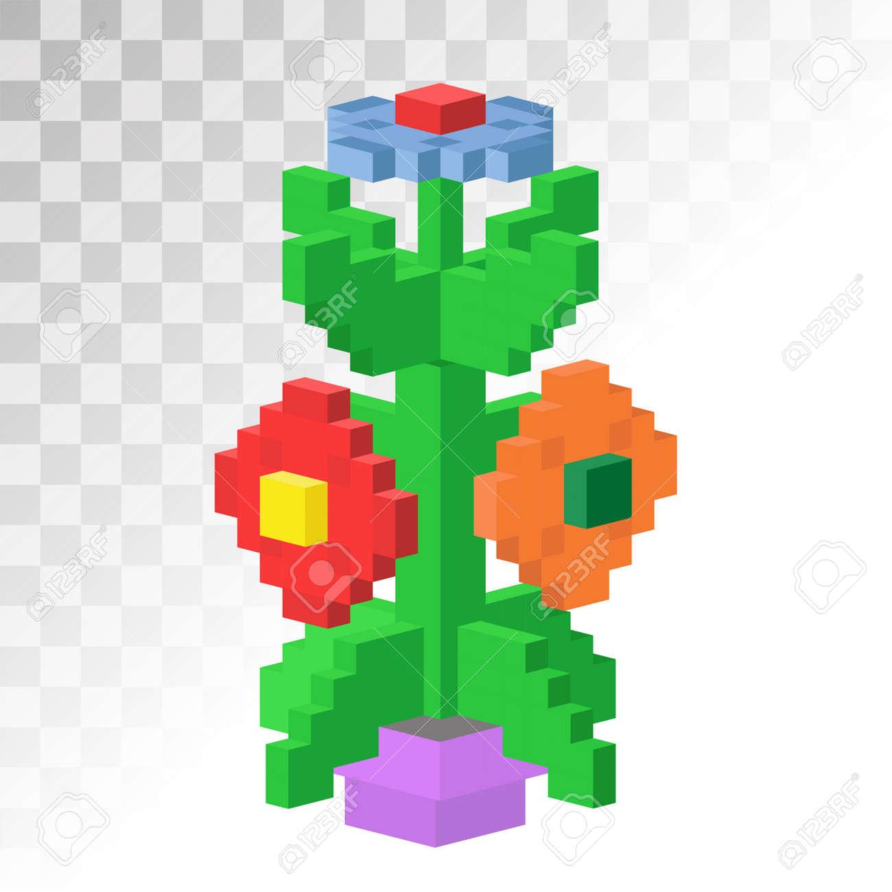 3d Isométrique Fleur Vew Pixel Stable Art Vecteur Icône Briques De Fleurs Construction De Fleurs Art De Jeu Fleur Carré Jardin Isolé Sur Grille