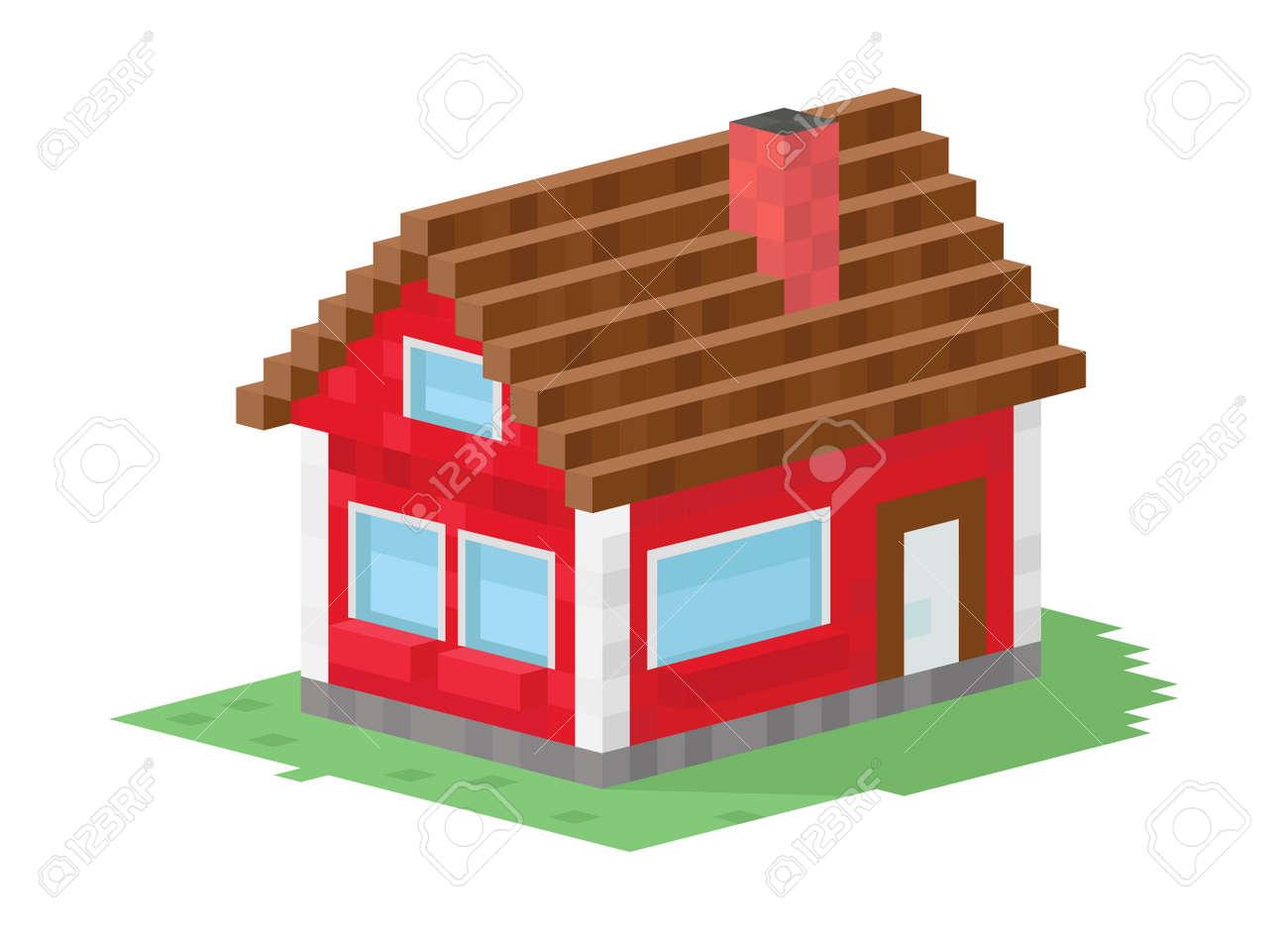 Einfamilienhaus gebã¤ude vektor illustration 3d haus gebã¤ude auf