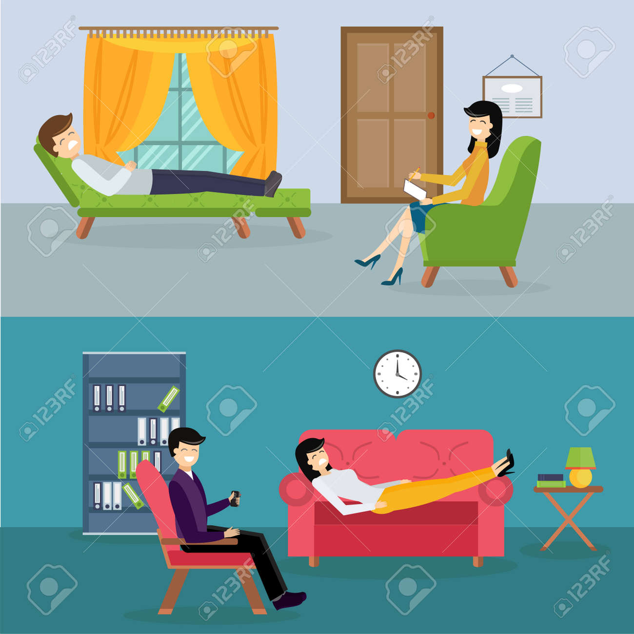 Psychologist Office Cabinet Room Vector Illustration. Psychologist Having  Psychological Therapy Session. Psychologist Office Illustration