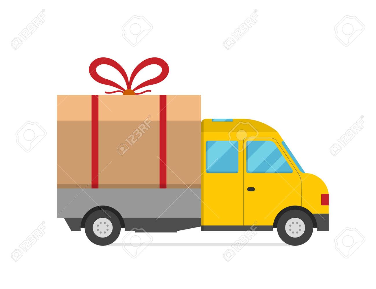 Delivery vector transport truck van christmas gift box bow ribbon delivery vector transport truck van christmas gift box bow ribbon delivery service van new year m4hsunfo