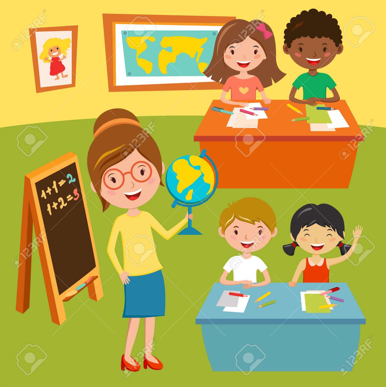 Souvent école Des Enfants Ou Des Leçons De Club De Bébé. Enseignant  JY86