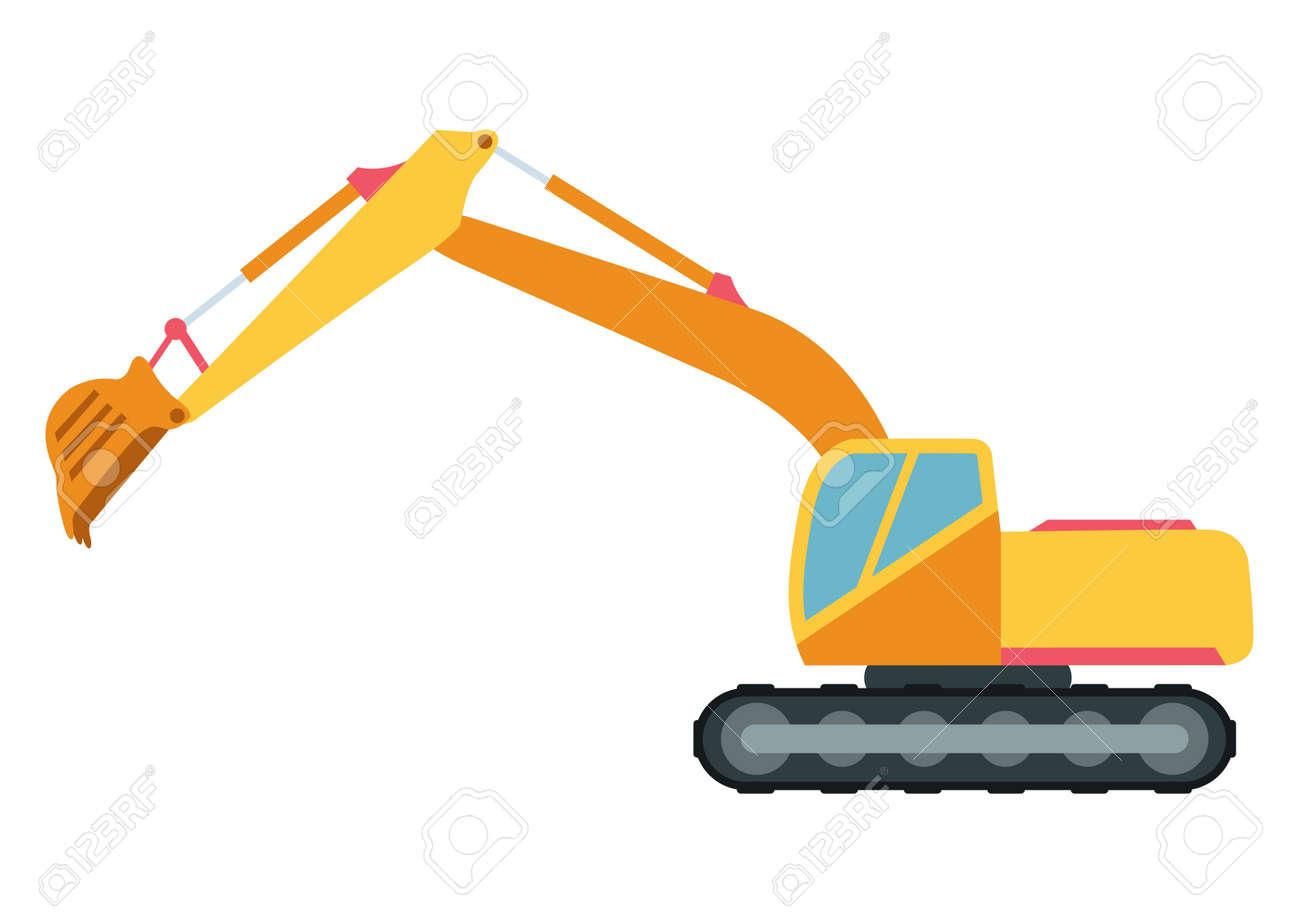 building under construction excavator technics vector illustration rh 123rf com construction vectorielle physique construction vector icons