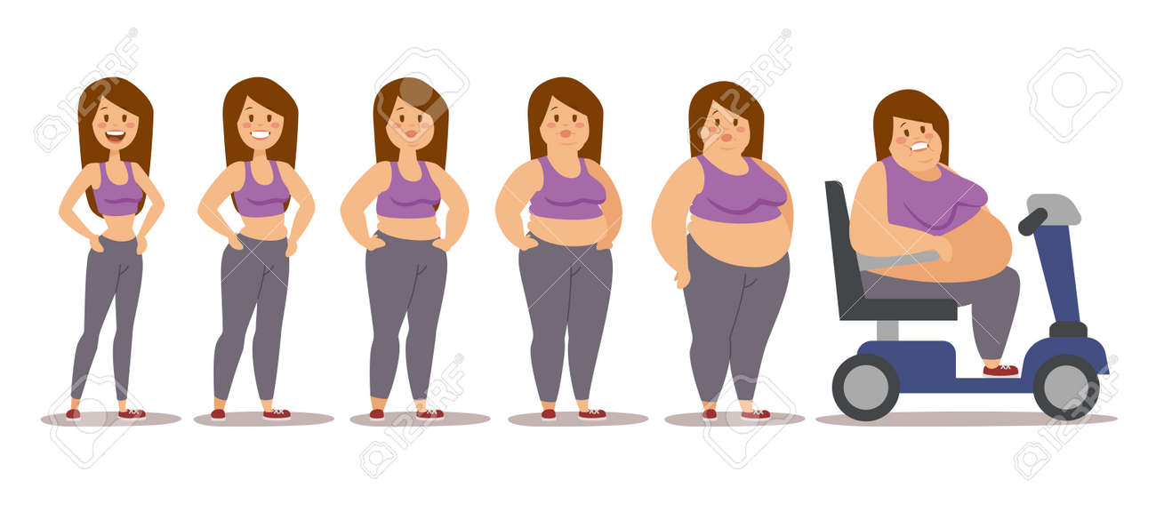 Fat woman cartoon style different stages vector illustration. Fat problems. Health problems. Fast food, strong sport and fat people. Obesity process people illustration - 50132775