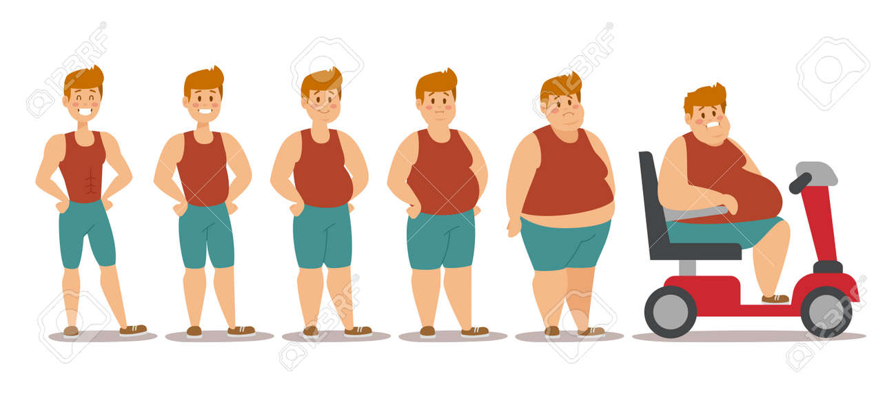 Fat man cartoon style different stages vector illustration. Fat problems. Health problems. Fast food, strong sport and fat people. Obesity process people illustration - 50132799