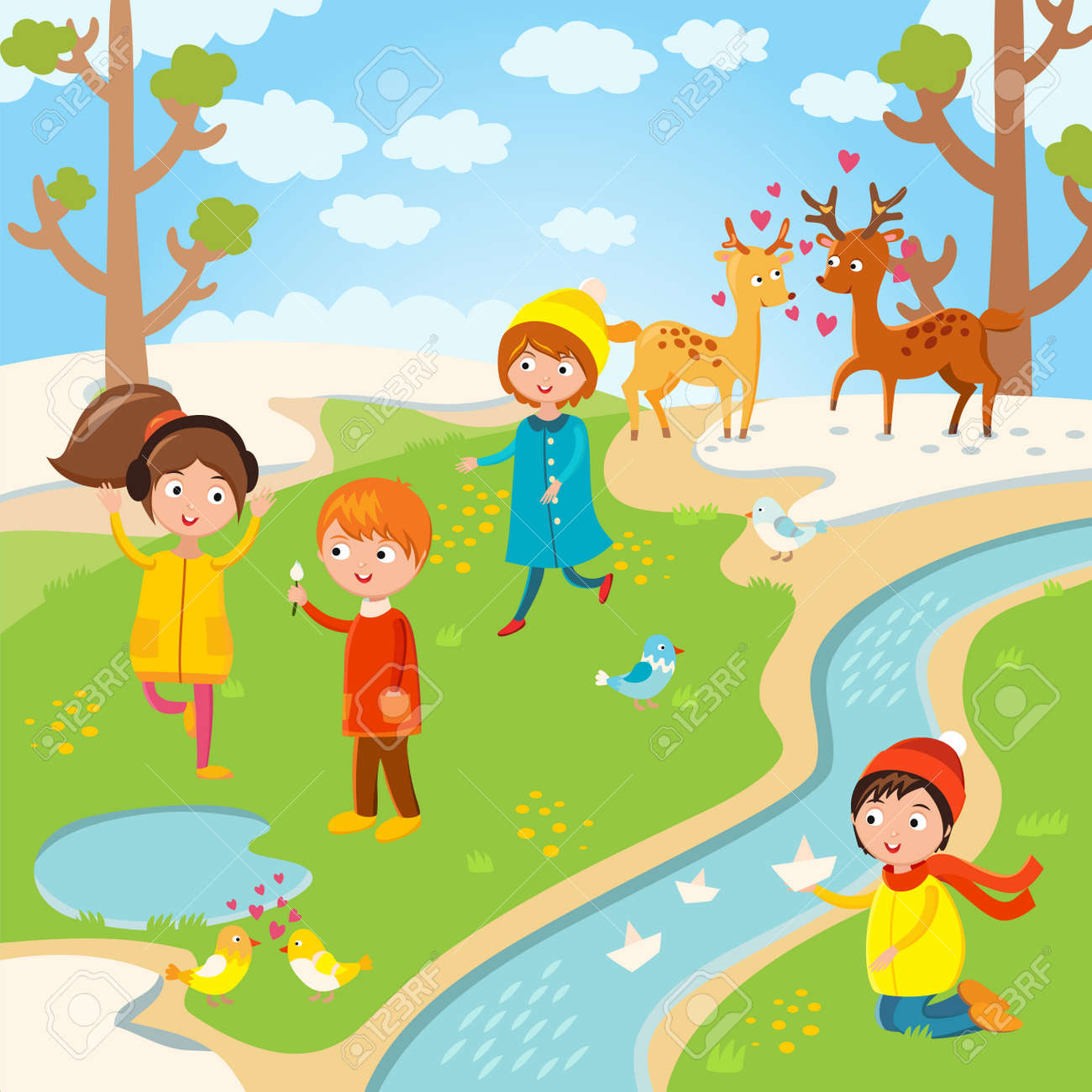 spring or summer kids playing outdoor nature holidays children kids play vector - Spring Images For Kids