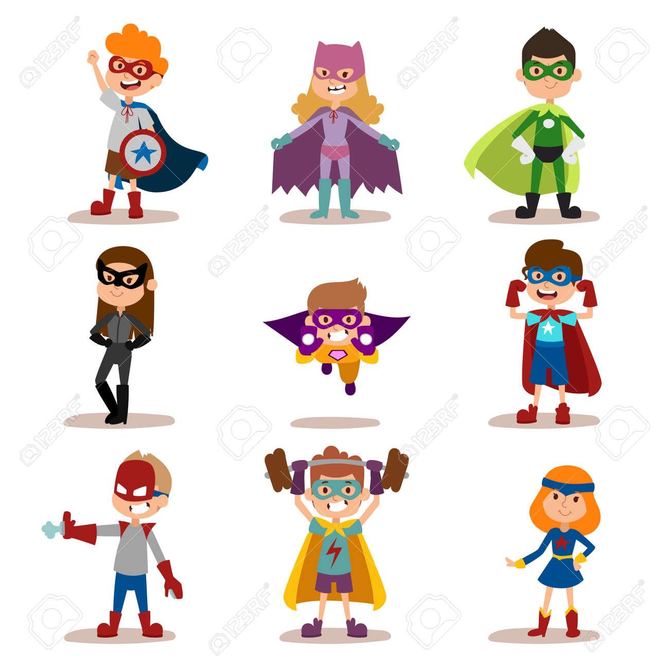 Superhero kids boys and girls cartoon vector illustration. Super children illustration. Super hero kids playing, fly, Super kids in action. Superkids flying, success people concept - 50132880