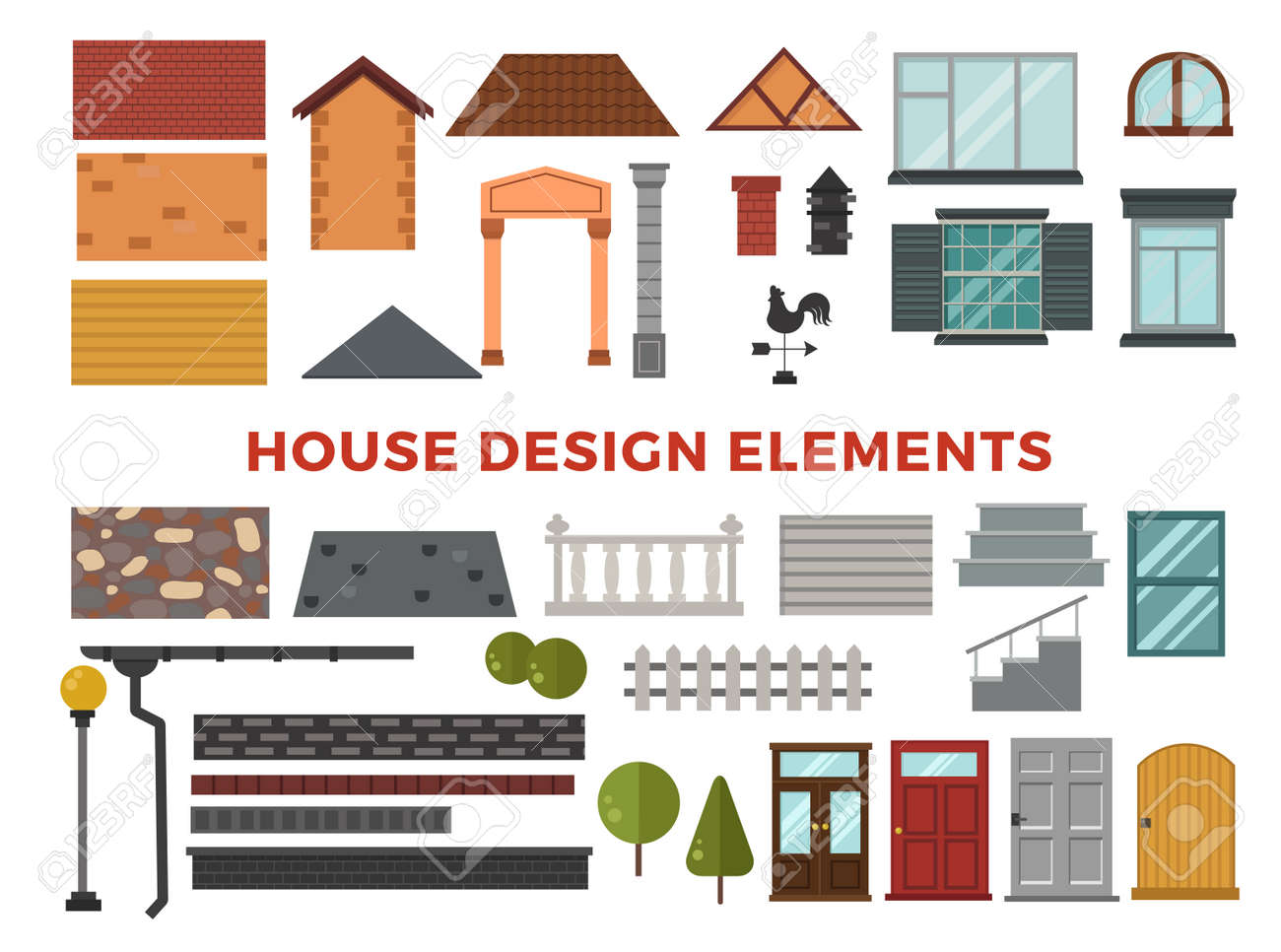 Family House Vector Design Elemets. House Building Elements Isolated ...