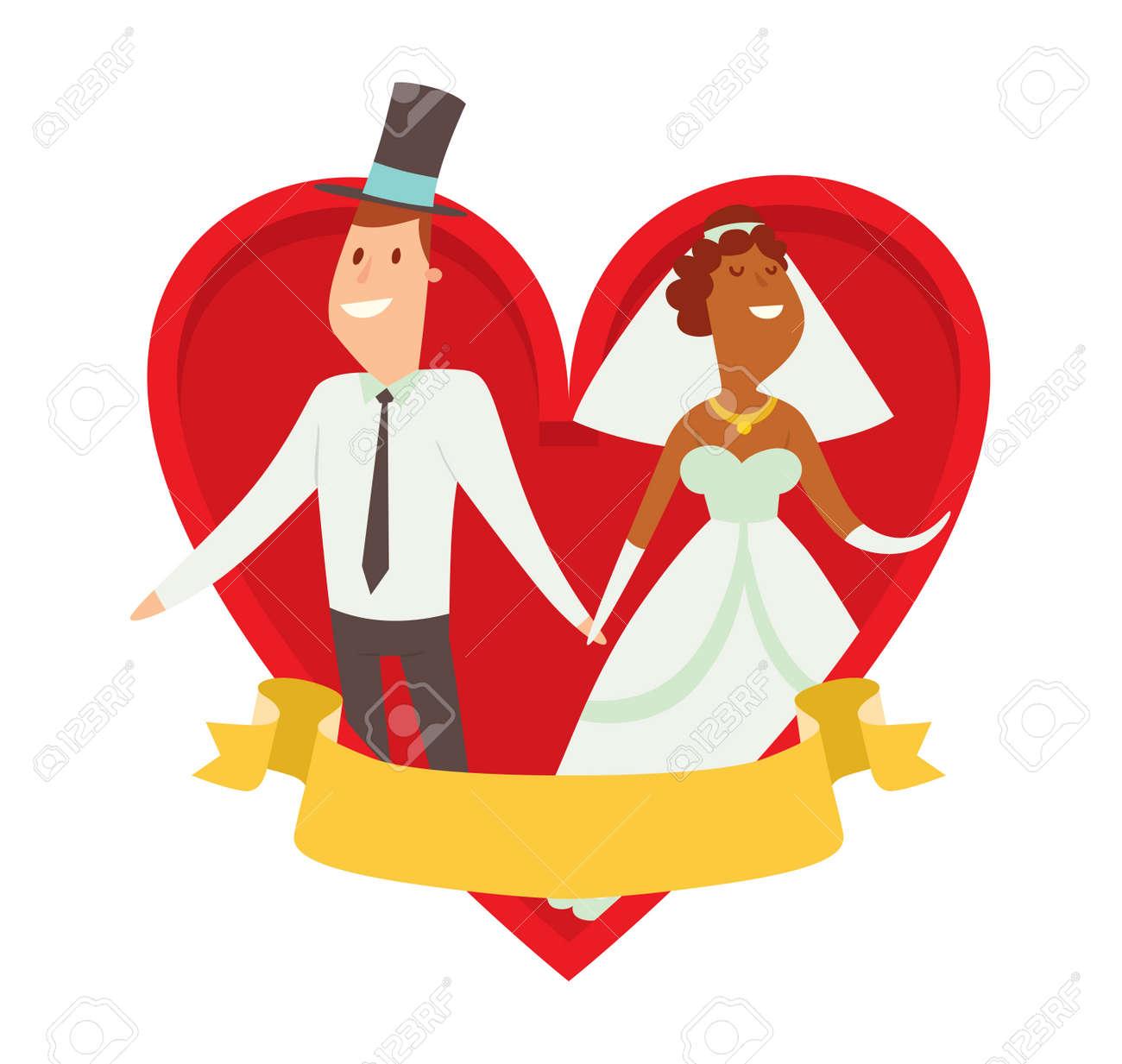 結婚式カップル漫画スタイル ベクトル イラスト。結婚式のカップルかわいい漫画フラット