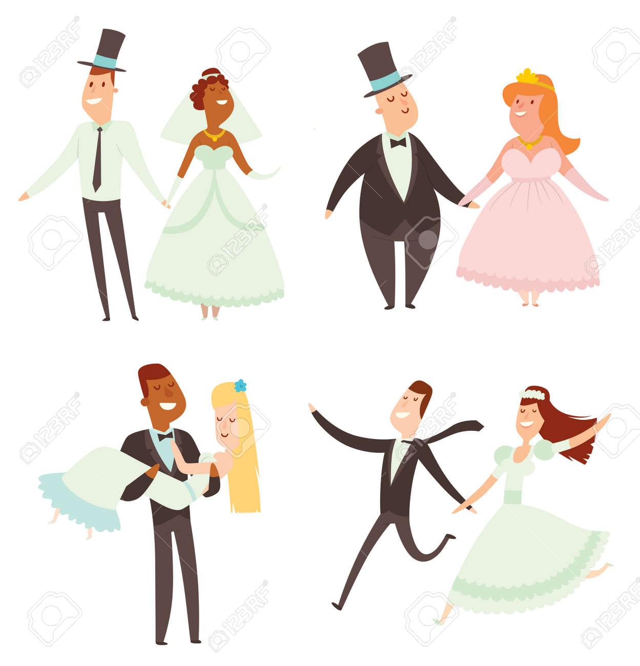 結婚式カップル漫画スタイル ベクトル イラスト。結婚式のカップル