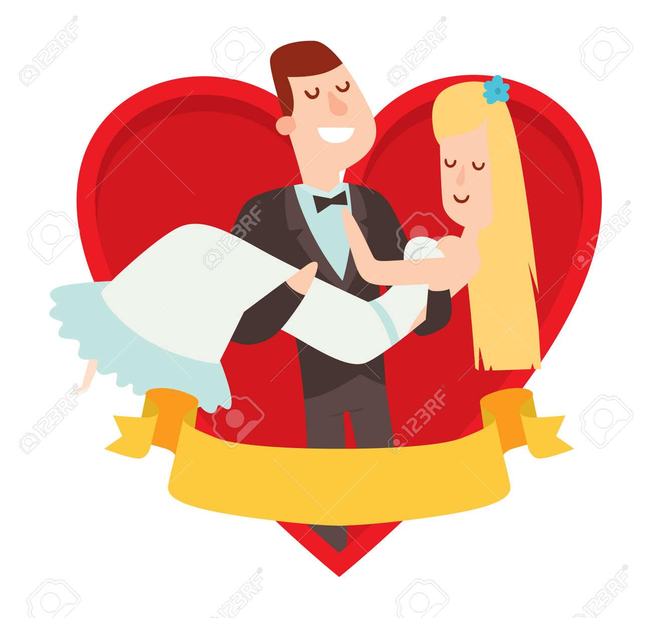 Wedding Couples Cartoon Style Vector Illustration Wedding Couples