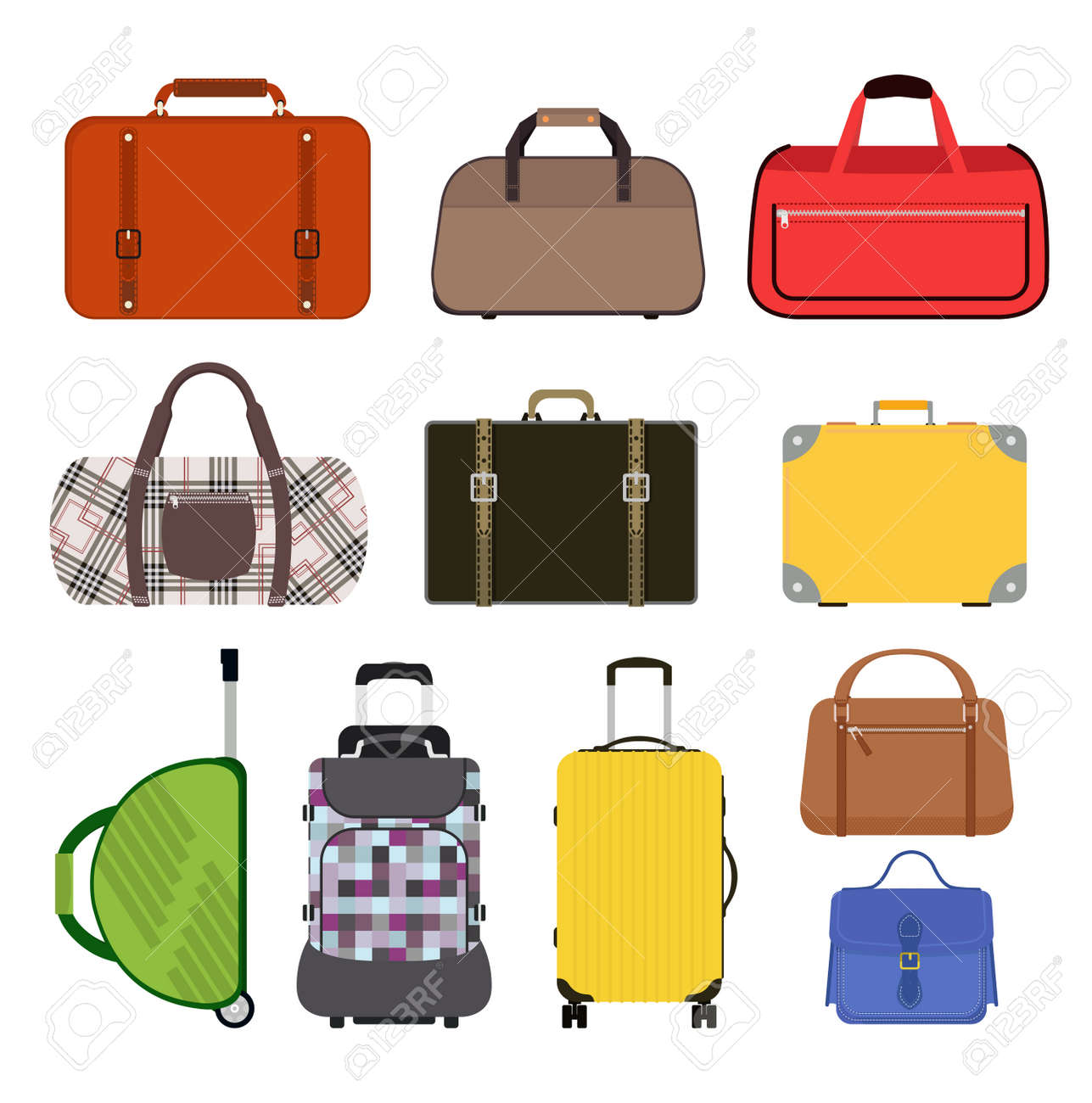 travel bag vector illustration icons collection travel bags rh 123rf com bag victoria's secret bag vector logo