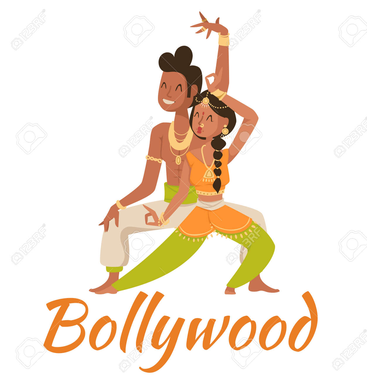 Indian Bollywood Couple Dancing Vector Indian Dancers Vector Royalty Free Cliparts Vectors And Stock Illustration Image 50399610