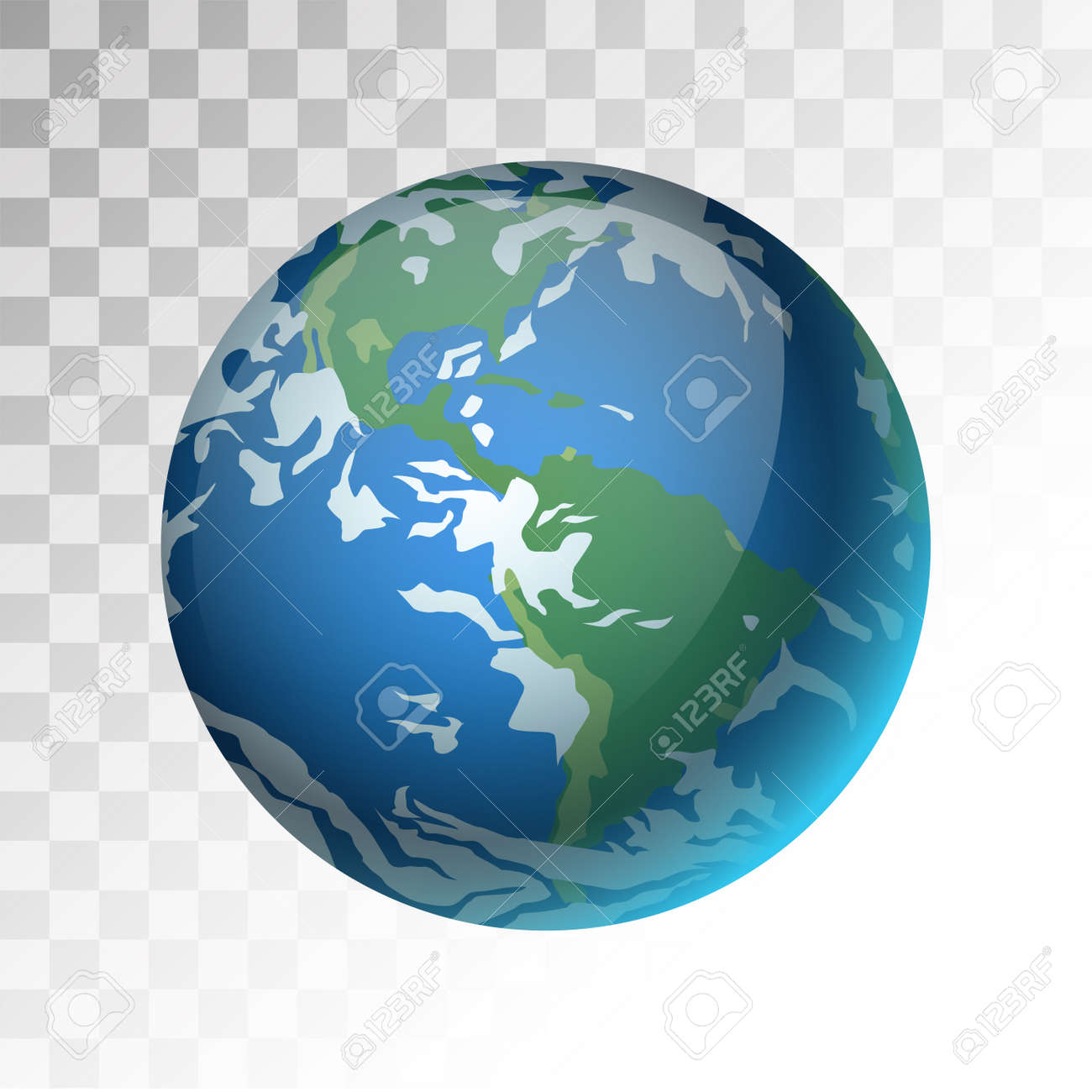 Earth Planet 3d Vector Illustration Globe Earth Texture Map