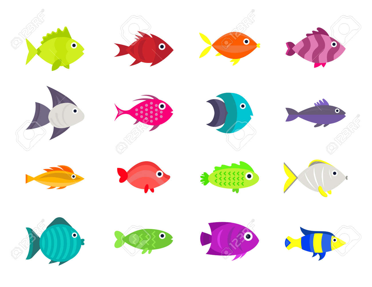 かわいい魚ベクトル イラスト アイコン セット。 ロイヤリティフリー