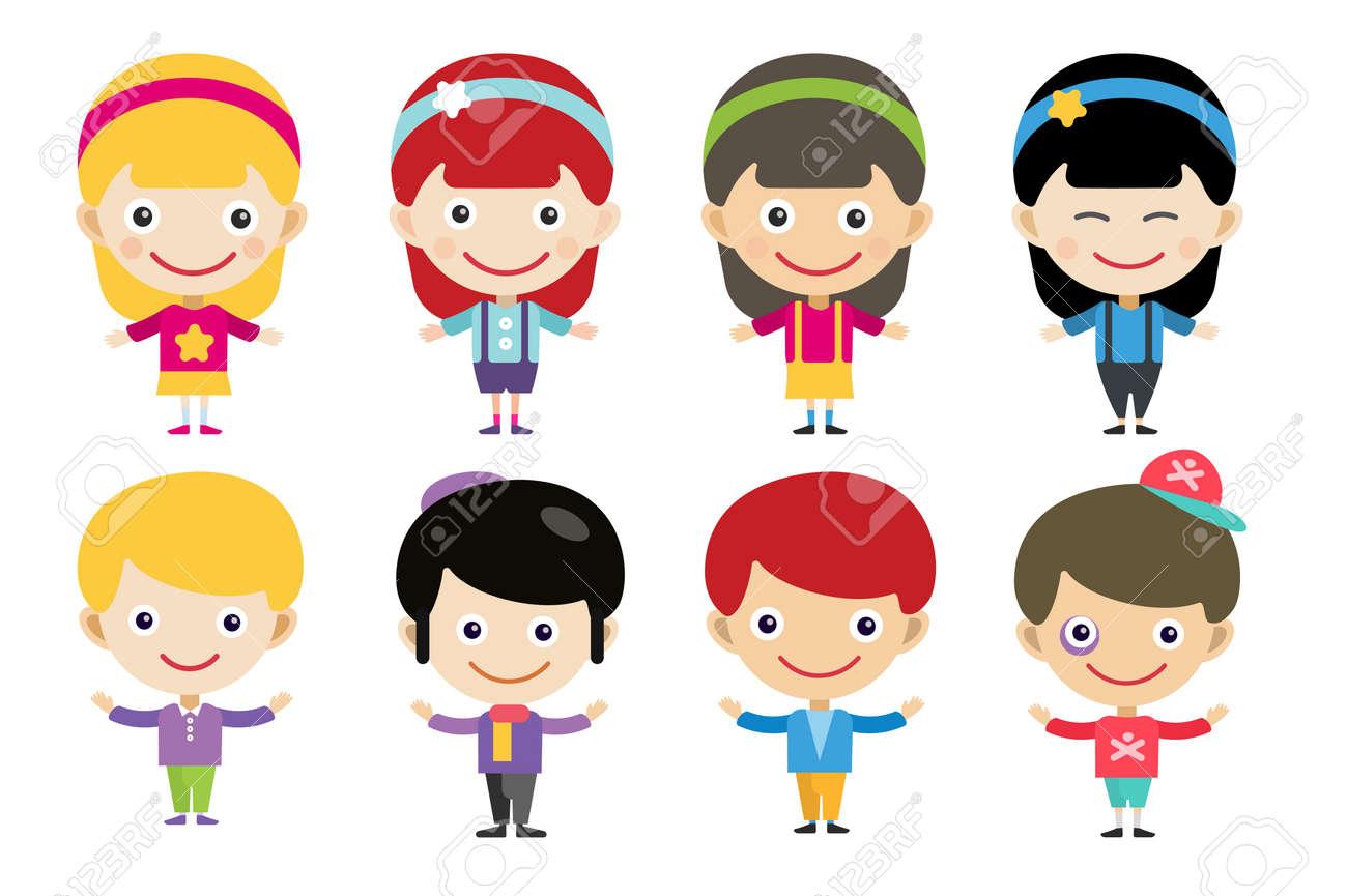 Niños De Dibujos Animados Lindo Y Niñas Juntos Niños Personas Los Niños Trajes Diferentes Países Caracteres Para Niños Del Mundo En Trajes Nacionales Los Niños Los Niños Los Niños De Amistad Internacional