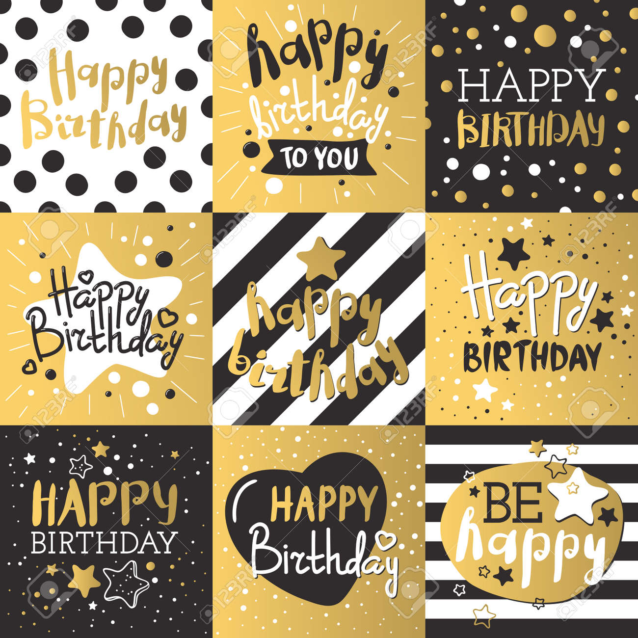 Beautiful Birthday Invitation Cards Design Gold And Black Colors