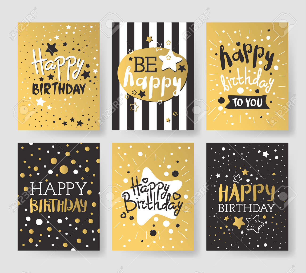Beautiful Birthday Invitation Cards Design Gold And Black Colors Vector Greeting Card Decoration