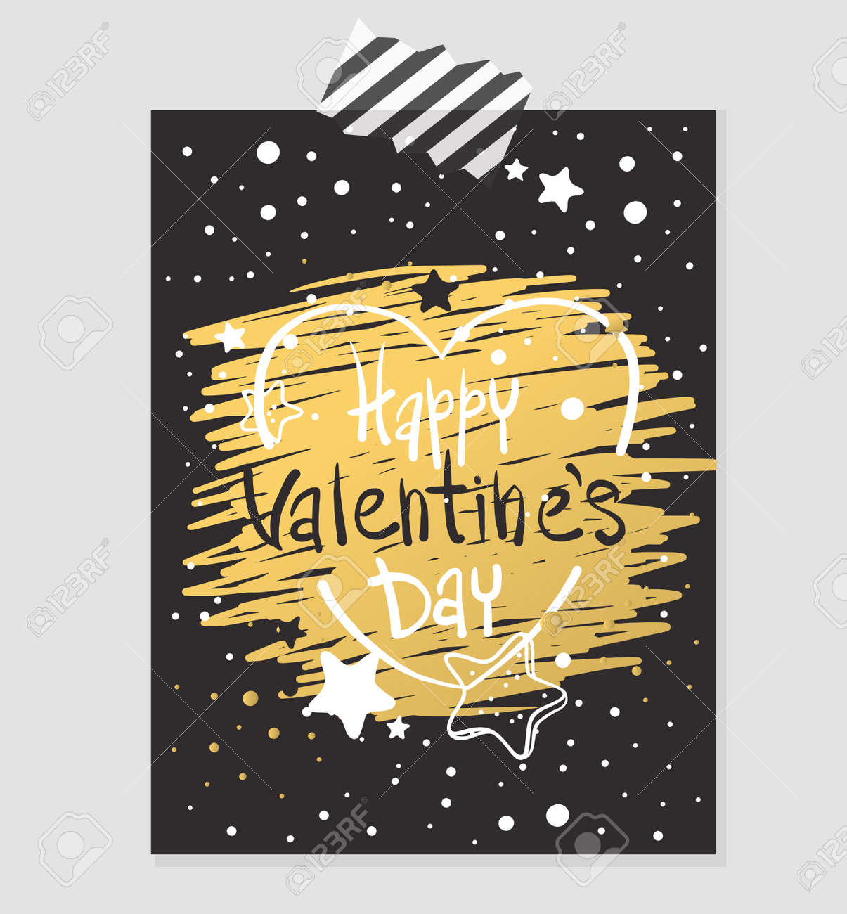 Happy Valentines Day Gold And Black Greeting Card Vector