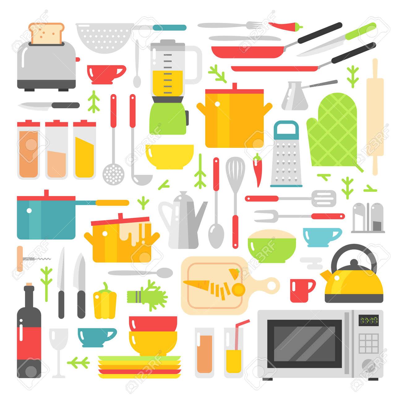 archivio fotografico piatti di cucina vettore icone piane isolato su sfondo bianco segno cucina utensili da cucina icone piatti tutti i giorni simboli