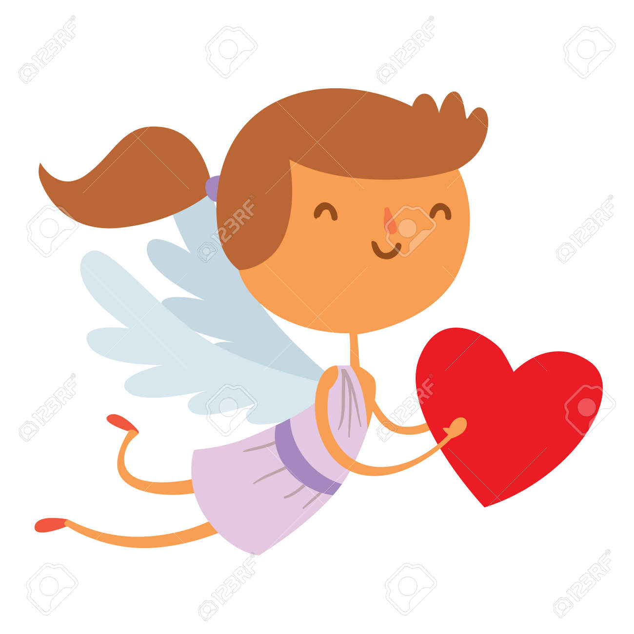 Valentine Day Cupid Angel Cartoon Style Vector Illustration. Amur Cupid Kid  Playing. Cupid Cartoon