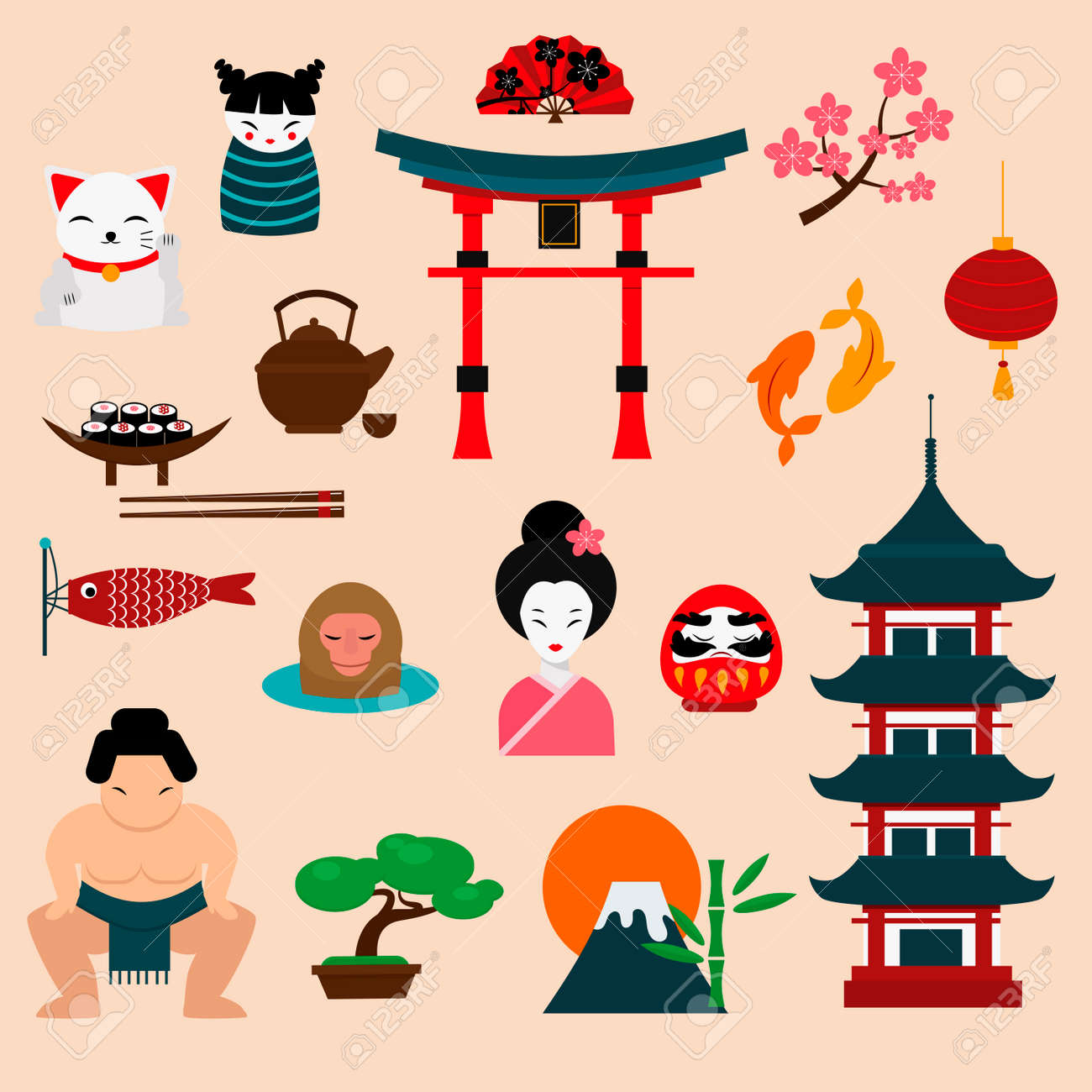 Japan Landmark Travel Vector Icons Collection. Japan Culture ...