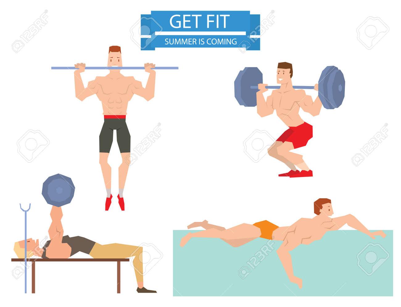 sport cartoon groupe gymnase homme exercice sur ballon de fitness