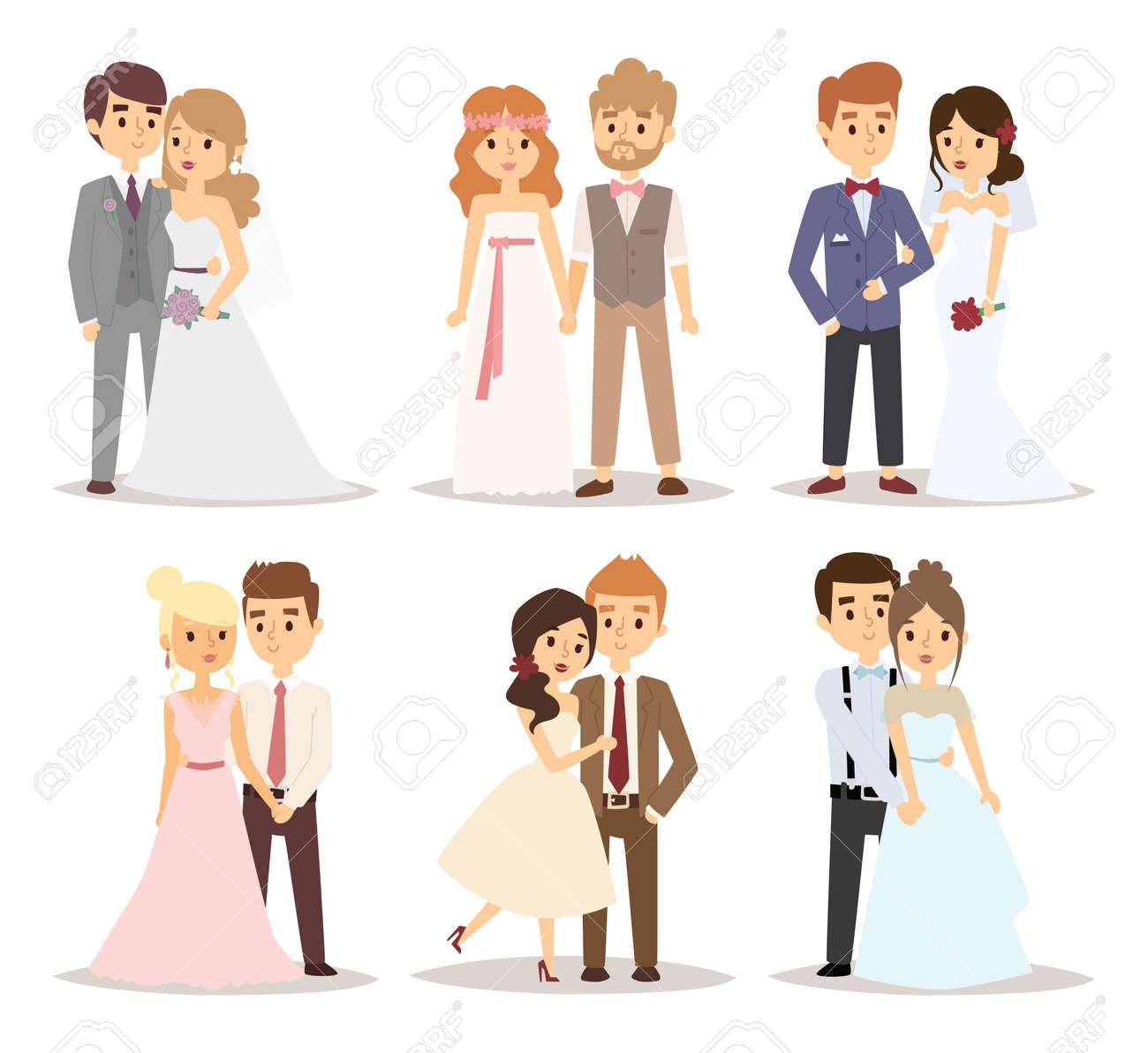 Wedding couple vector illustration. - 53184417