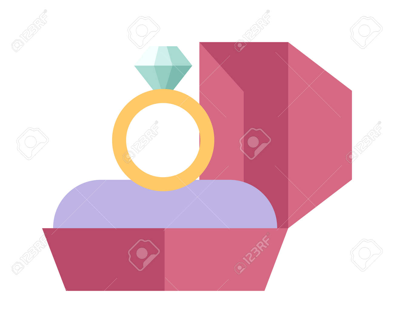 Vector Wedding Ring In A Beautiful Pink Box Flat Design. Wedding ...