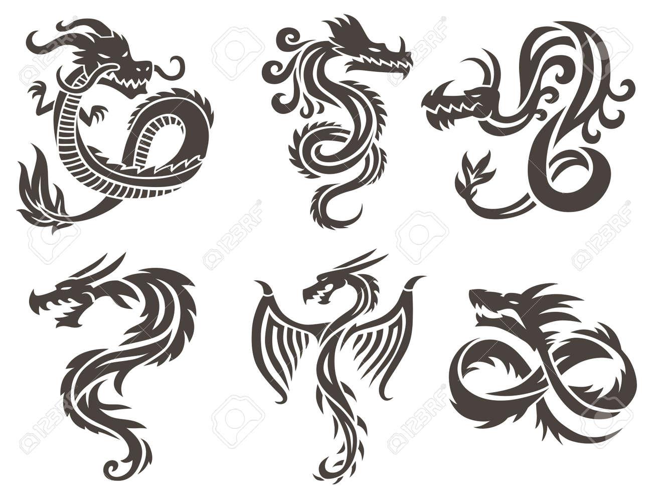 Dragon Tattoo white background vector illustration. Vector Chinese Dragon for the tattoo. Chinese dragon Tattoo. China Tattoo Dragon silhouette. China symbol dragon silhouette animal tattoo. - 53326780