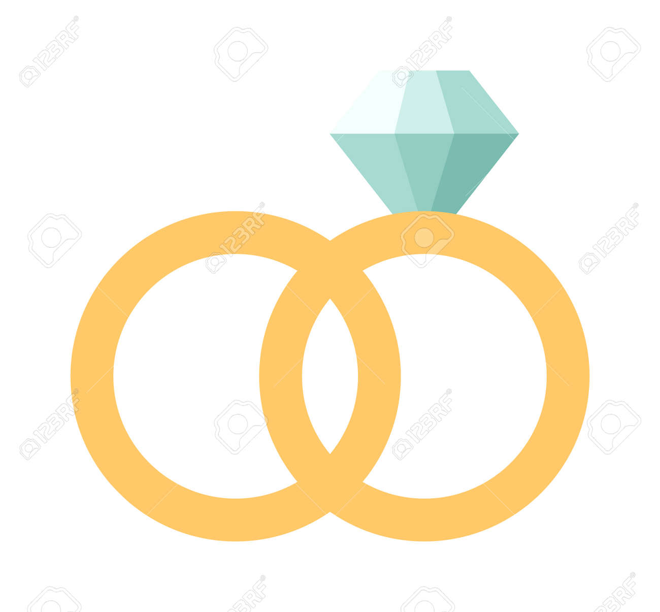 Vector Wedding Rings Icon Flat Design Wedding Rings Couple