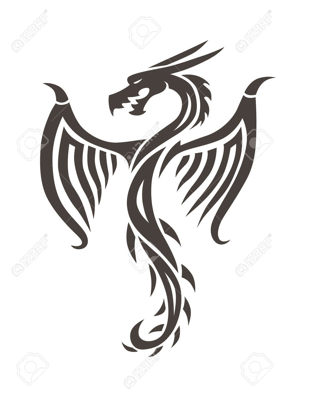 Dragon Tattoo White Background Vector Illustration Vector Chinese