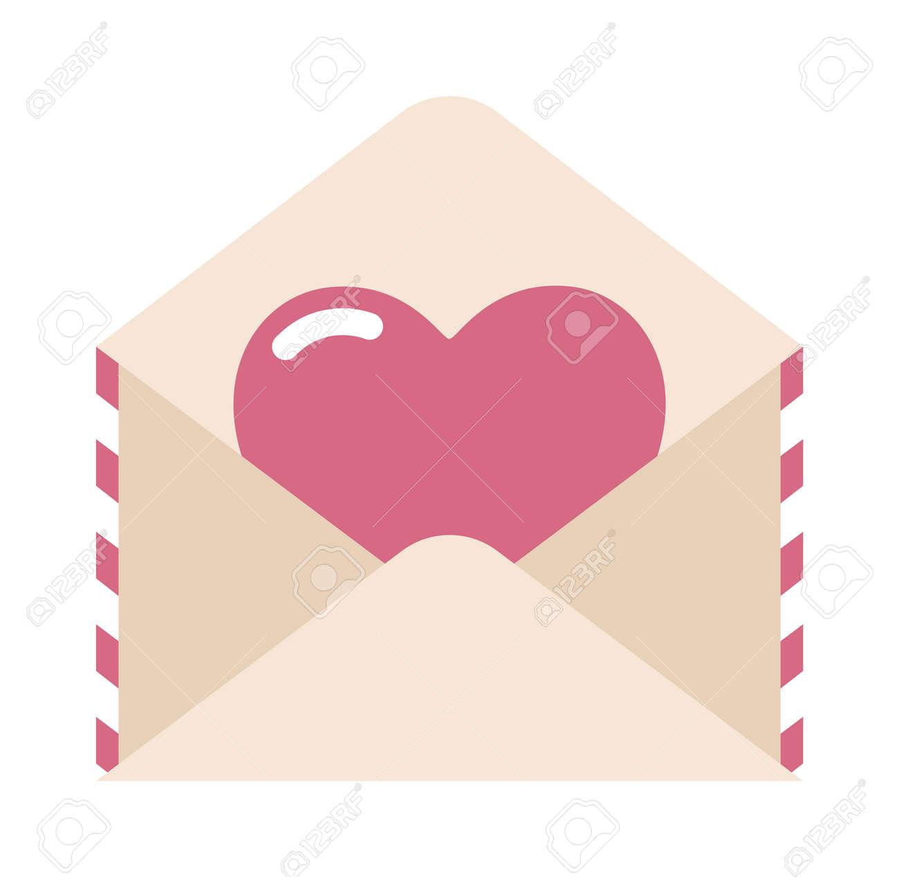 Carta De Amor Sobre Y Etiqueta Engomada Del Corazón Ilustración