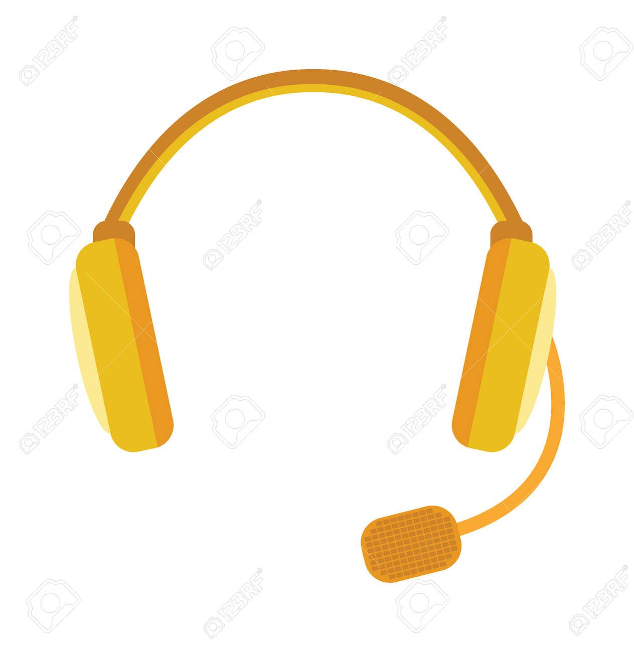 無線ヘッドフォンはベクトル イラストですウェビナー ヘッドフォン ホワイト バック グラウンドに分離されましたいくつかのフラット スタイルのヘッドフォンはベクトル アイコン イラストです