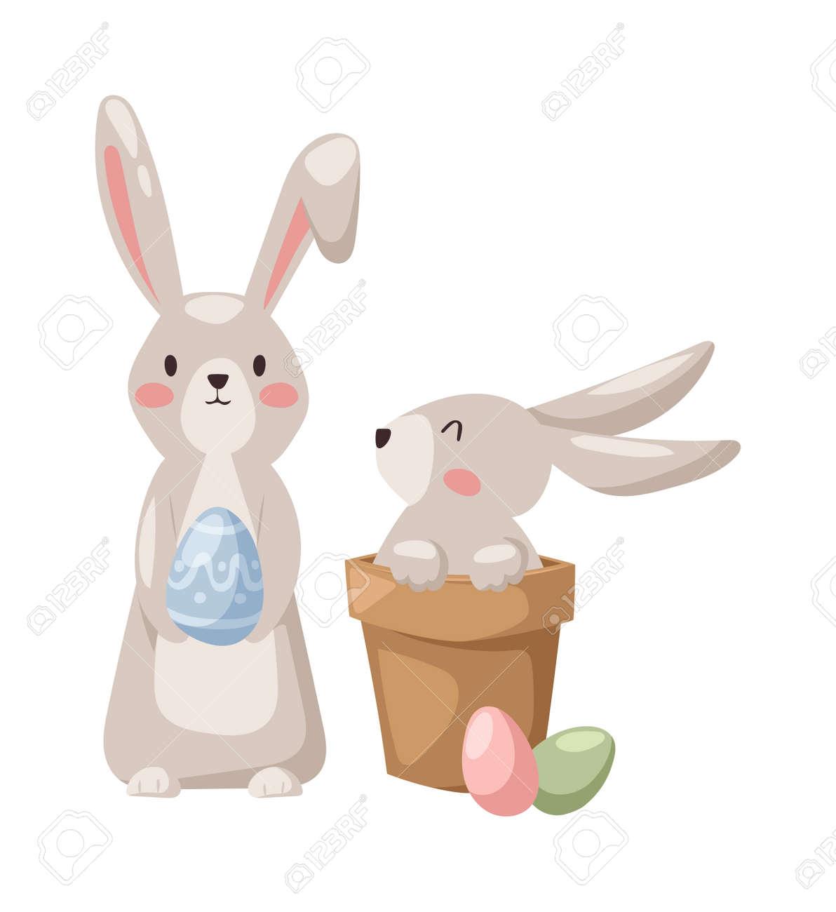 灰色の卵春季節行事と幸せウサギ ウサギ頭の伝統的なシンボルと