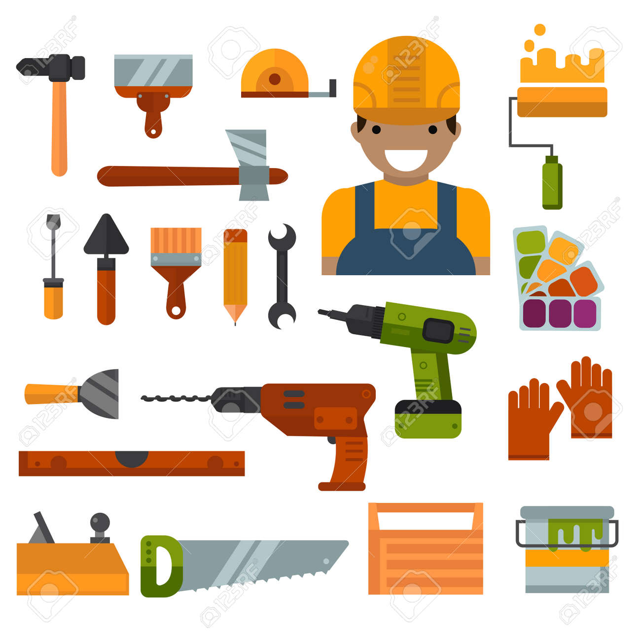 Perfect Set Of Worker Home Repair Tools Flat Icons. House Tool Industry. Building,  Home