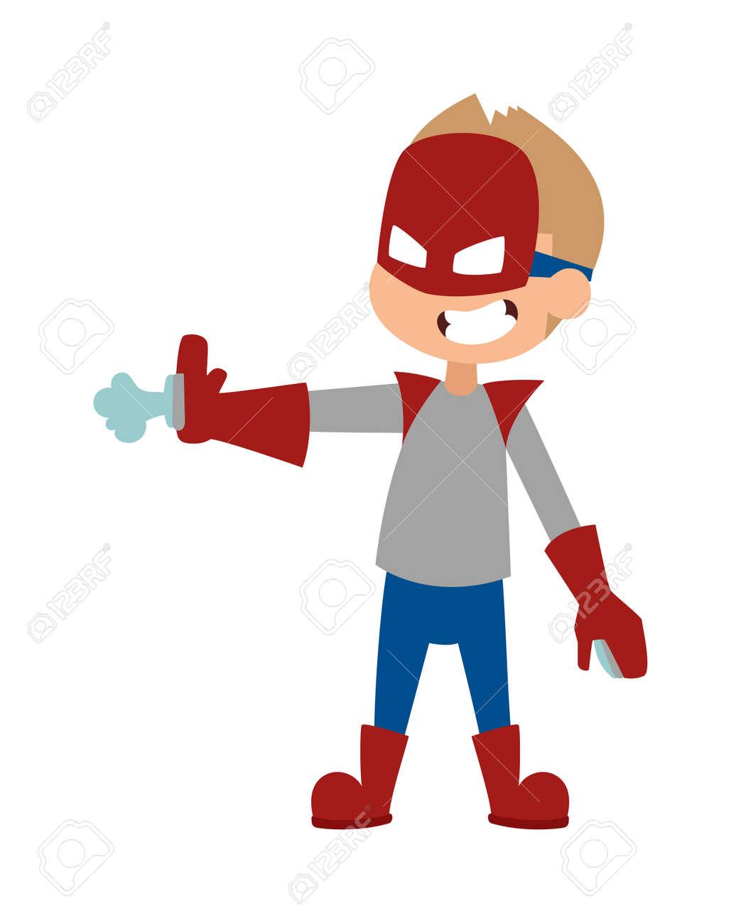 Super Hero Little Boy In Mask, Cute Super Hero Boy Vector ...