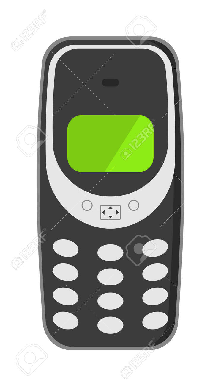 Old Vintage Keypad Mobile Phone And Icon Of Old Classic Mobile ...