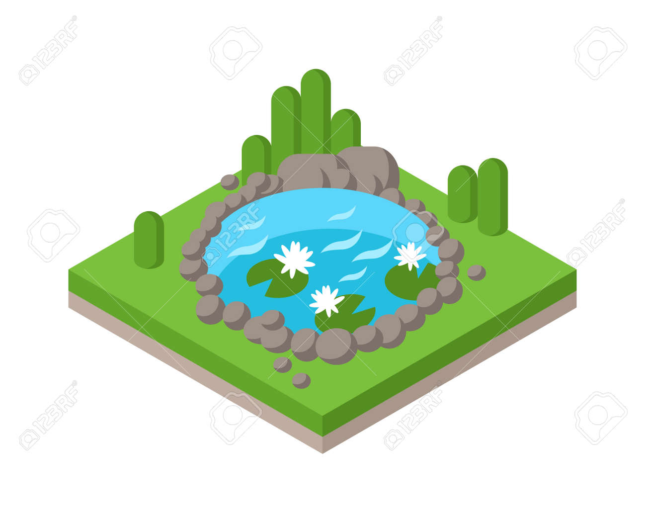 Relax by the isometric pond in forest park and pond landscape river isometric environment graphic collection vector. Flat 3d isometric pond outdoor vacation web infographics concept. Isometric water and tree - 54065610