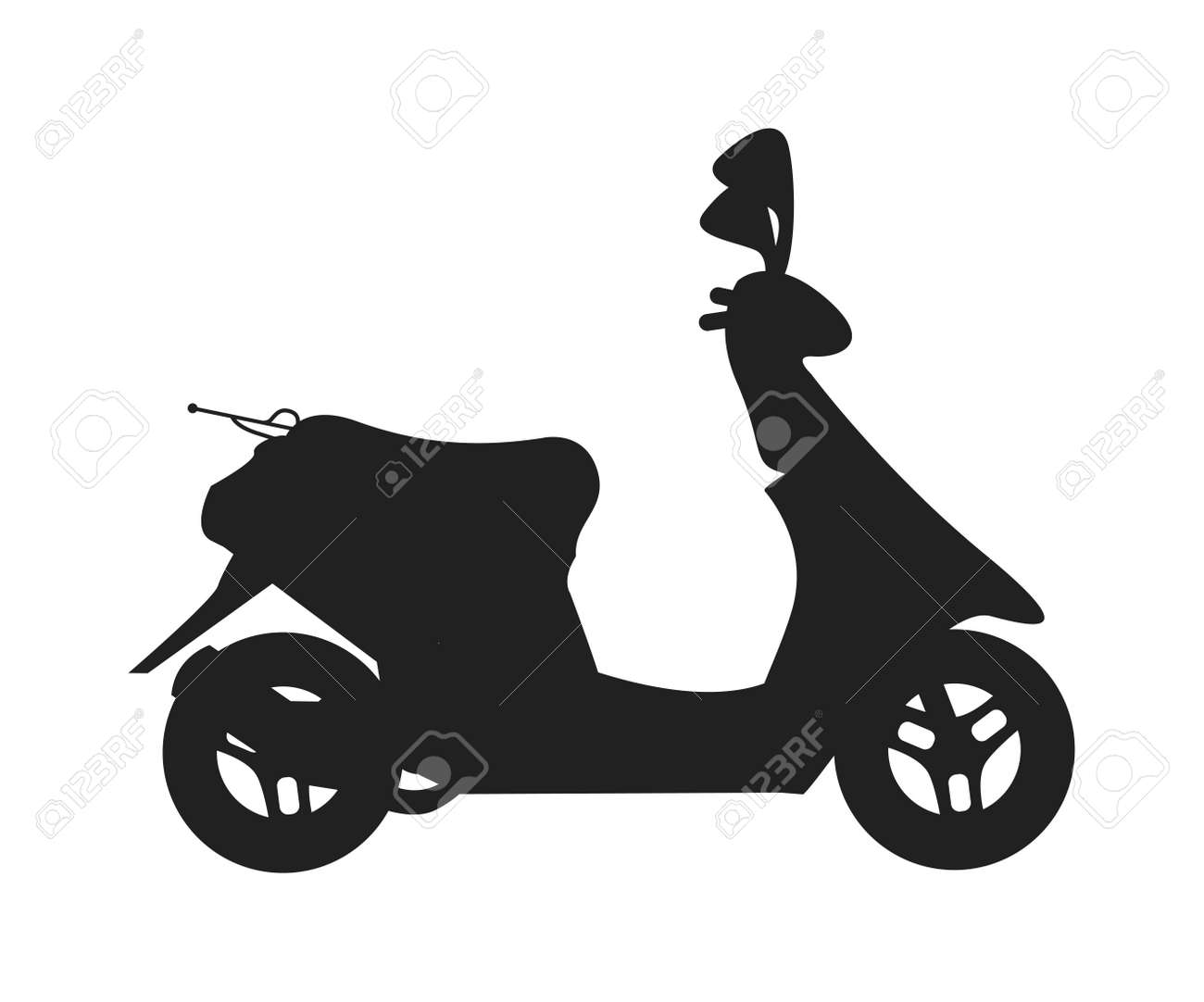 1d85d55127 Scooter silhouette symbol and scooter cartoon icon vector. Vector modern  creative flat design illustration featuring