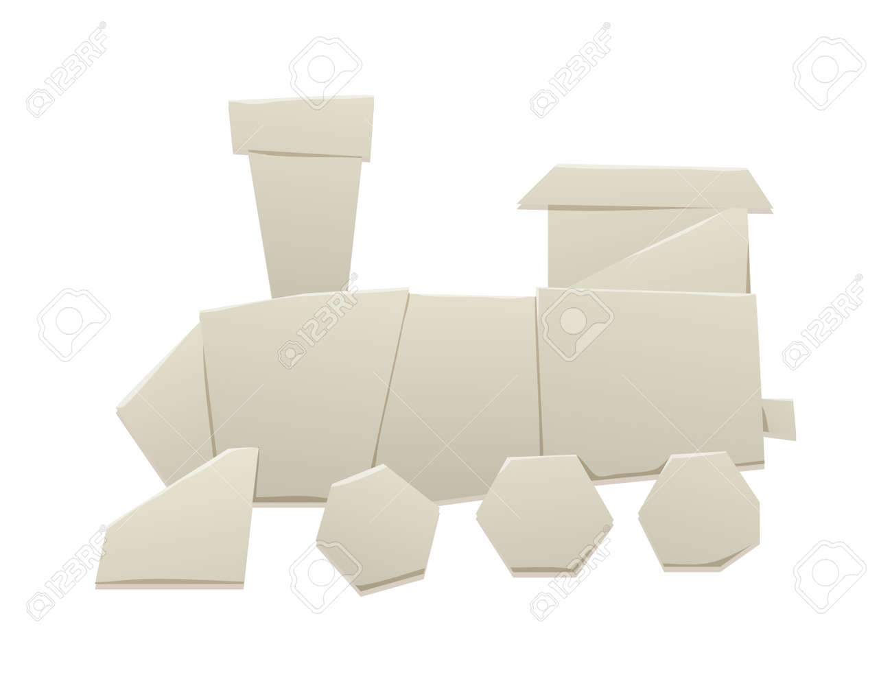 Cartoon Paper Origami Train Locomotive Symbol And Passenger Icon Retro Vector