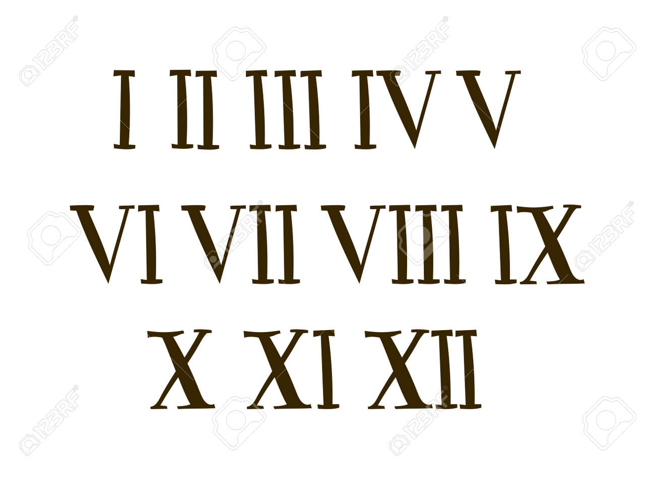 Old Roman Antique Alphabet Number And Font Vector Numbers