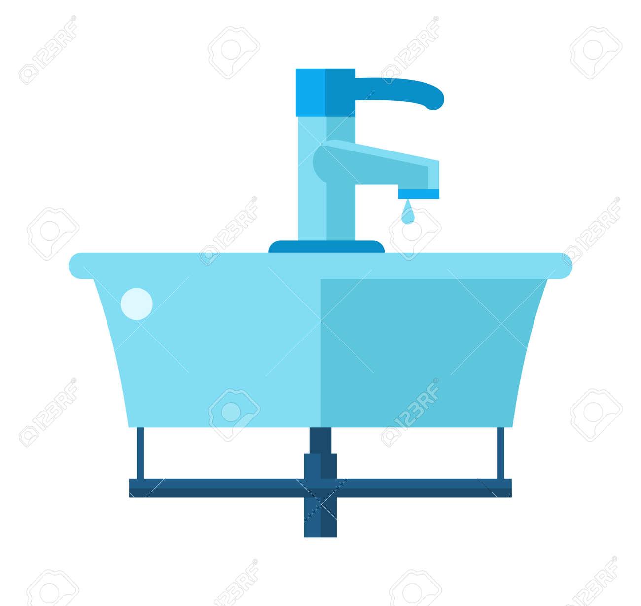 Lavabo Manos.Lavabo Objeto De Ceramica Domestica Y Un Lavabo Para Lavarse Las Manos Vector Ilustracion Vectorial De Dibujos Animados Plana Bano Lavabo