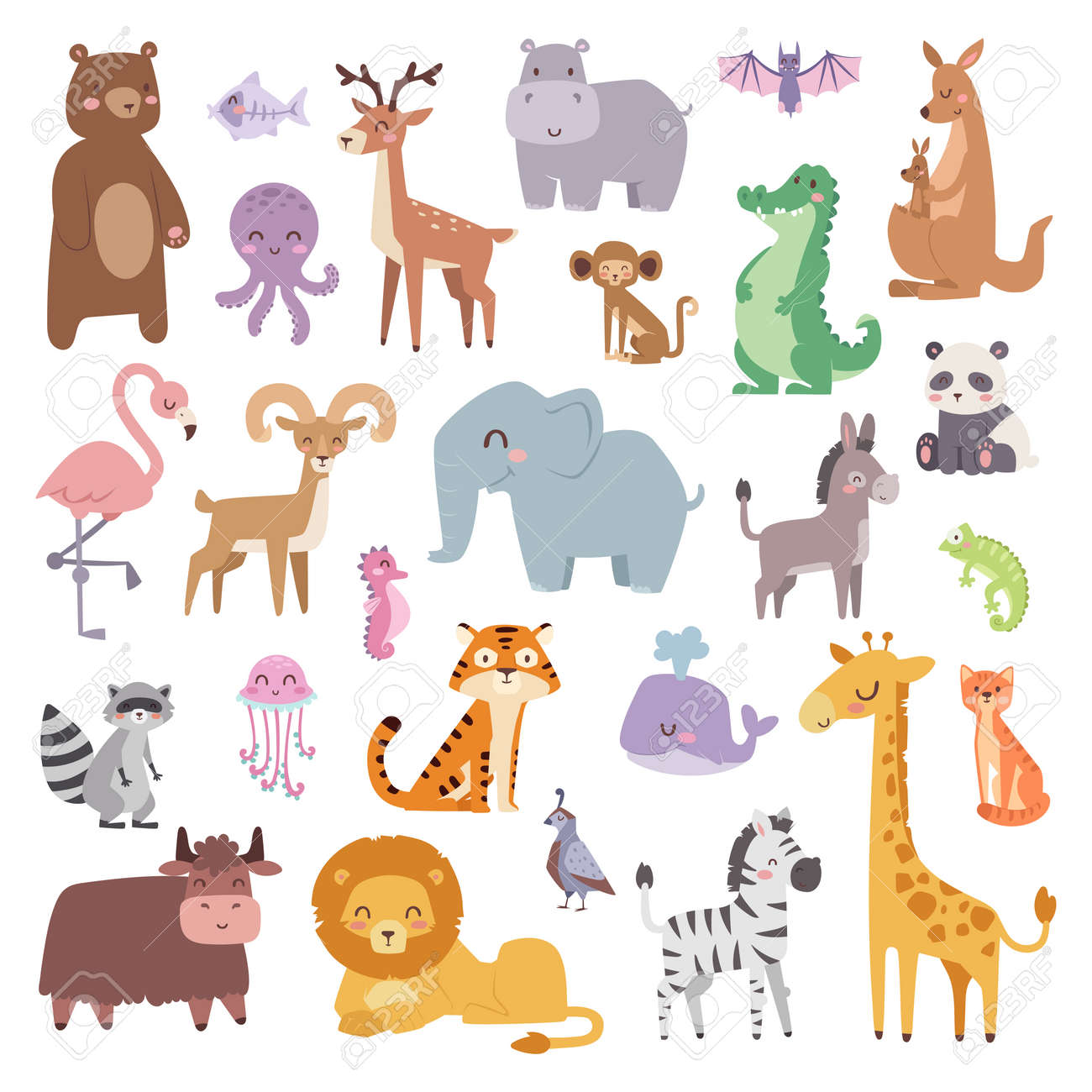 Cartoon animals character and wild cartoon cute animals collections vector. Cartoon zoo animals big set wildlife mammal flat vector illustration. - 54067639