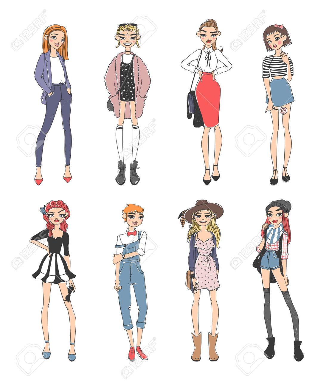 Schöne junge Mode Mädchen lässig Skizze Glamour stilvolle Kleidung und  Mode-Skizze Mädchen Kleider sehen Modelle gekleidet. Arbeiten Sie  beiläufige