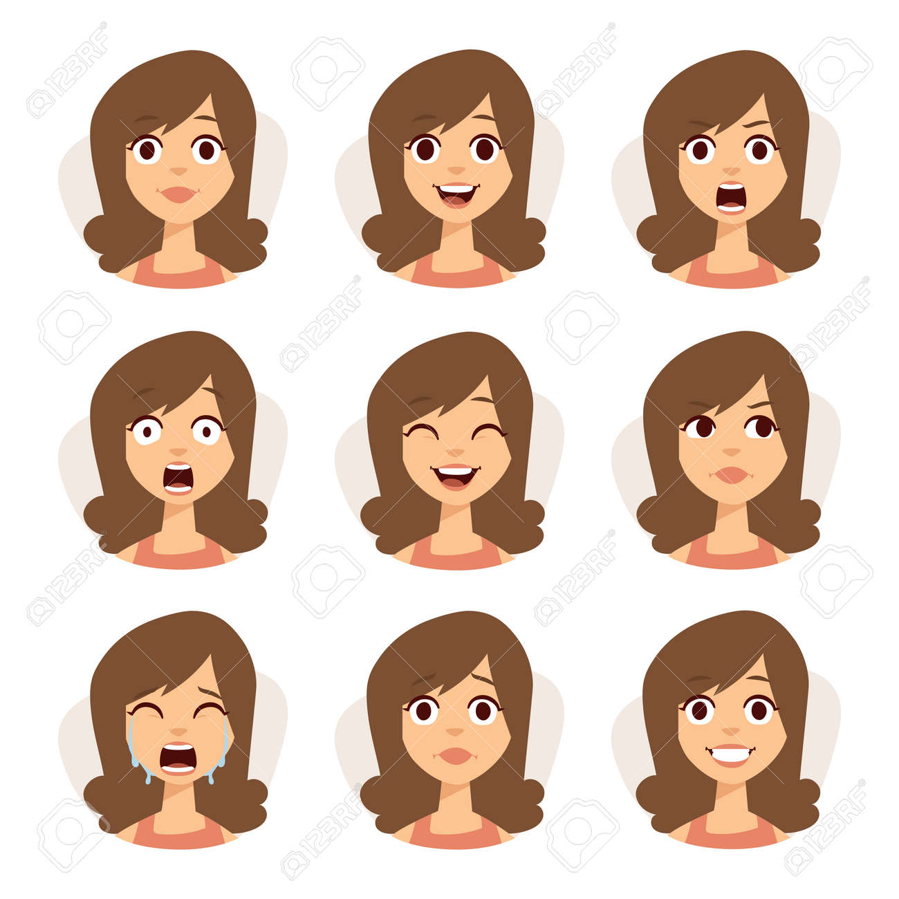 Woman emotions expression icons and beauty woman emotions vector. Isolated set of woman avatar expressions face emotions vector illustration. - 54067820